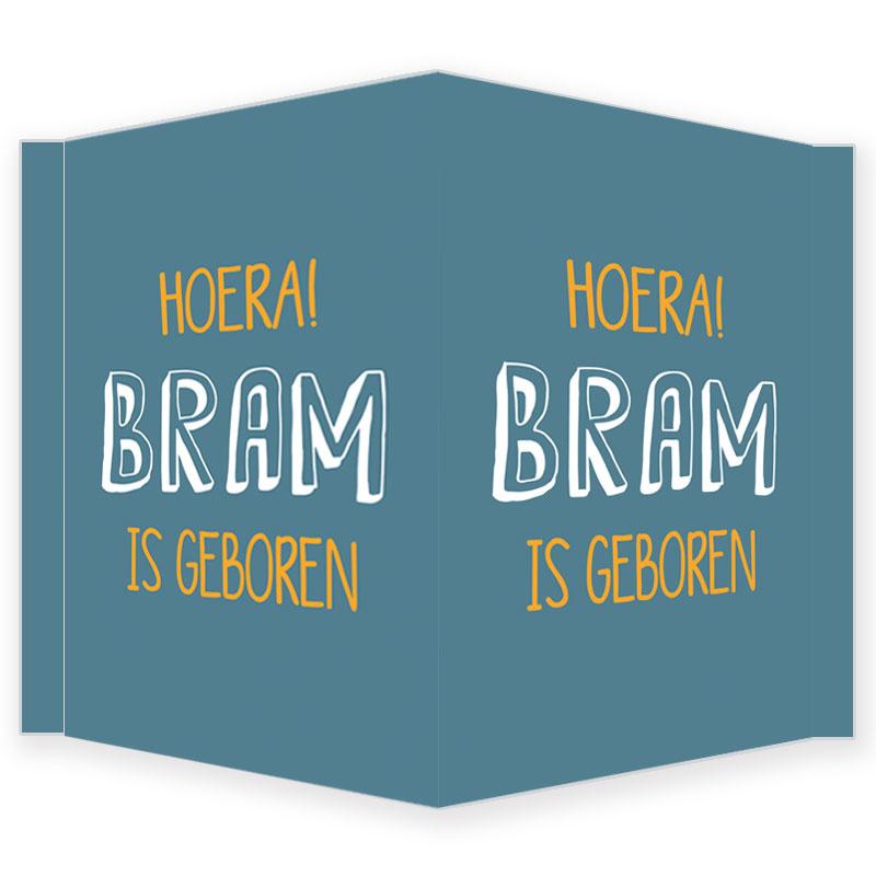 Geboortebord - Geboortebord raam blauw met okergeel type Bram