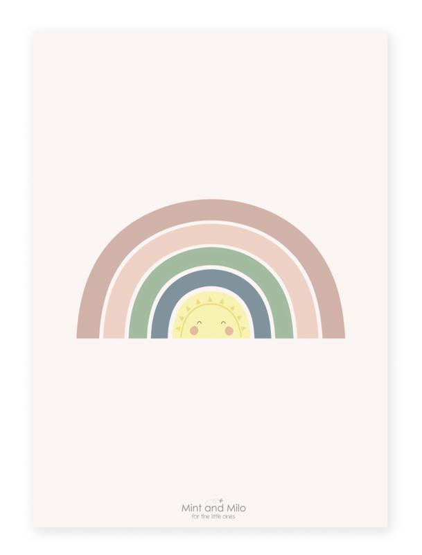 Poster met schattige regenboog - Mint and Milo