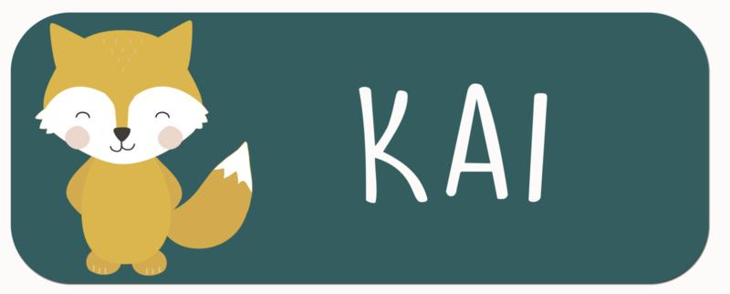 Naamstickers met een vos type Kai