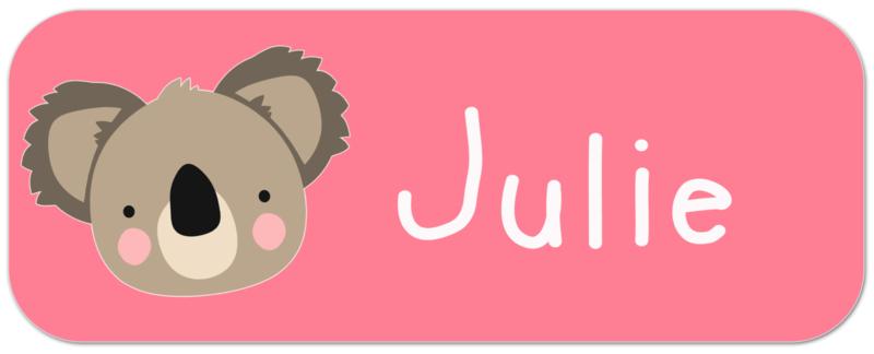 Naamstickers kind met koala beertje type Julie