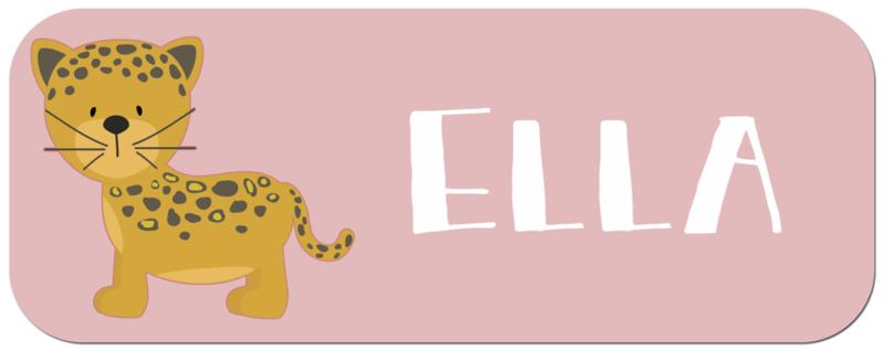 Naamstickers kind met een schattige jaguar type Ella
