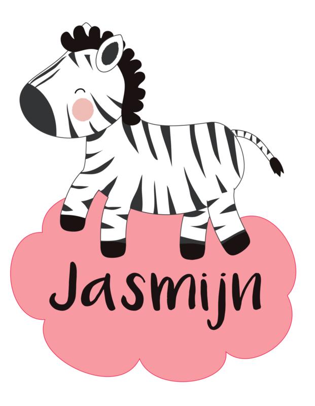 Geboortesticker met een zebra full colour type Jasmijn