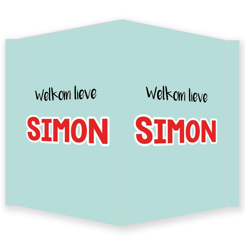 Geboortebord jongen - Geboortebord raam mint met rode letters type Simon
