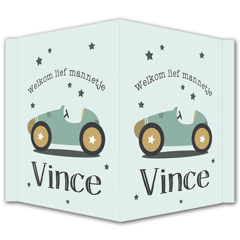 Geboortebord - Geboortebord raam met een stoere auto en sterretjes type Vince.