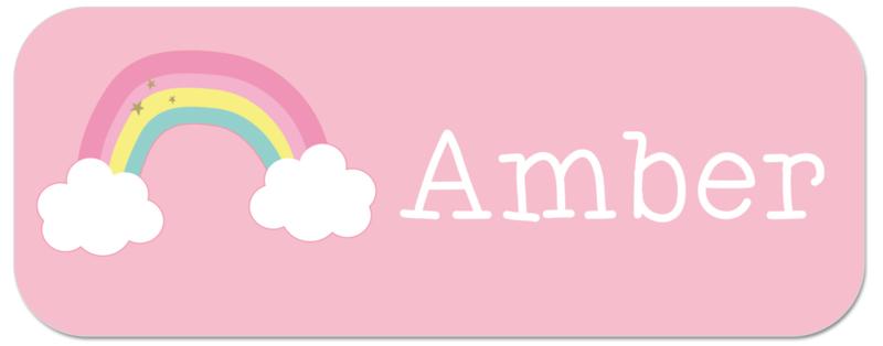 Naamstickers met vrolijke regenboog type Amber