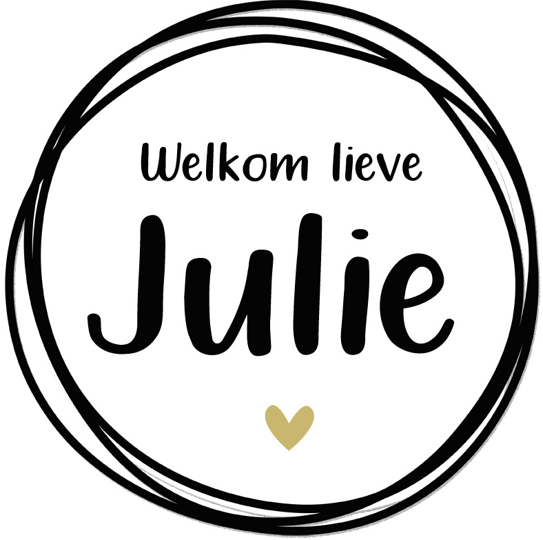 Geboortesticker full colour zwart wit met een goud hartje type Julie