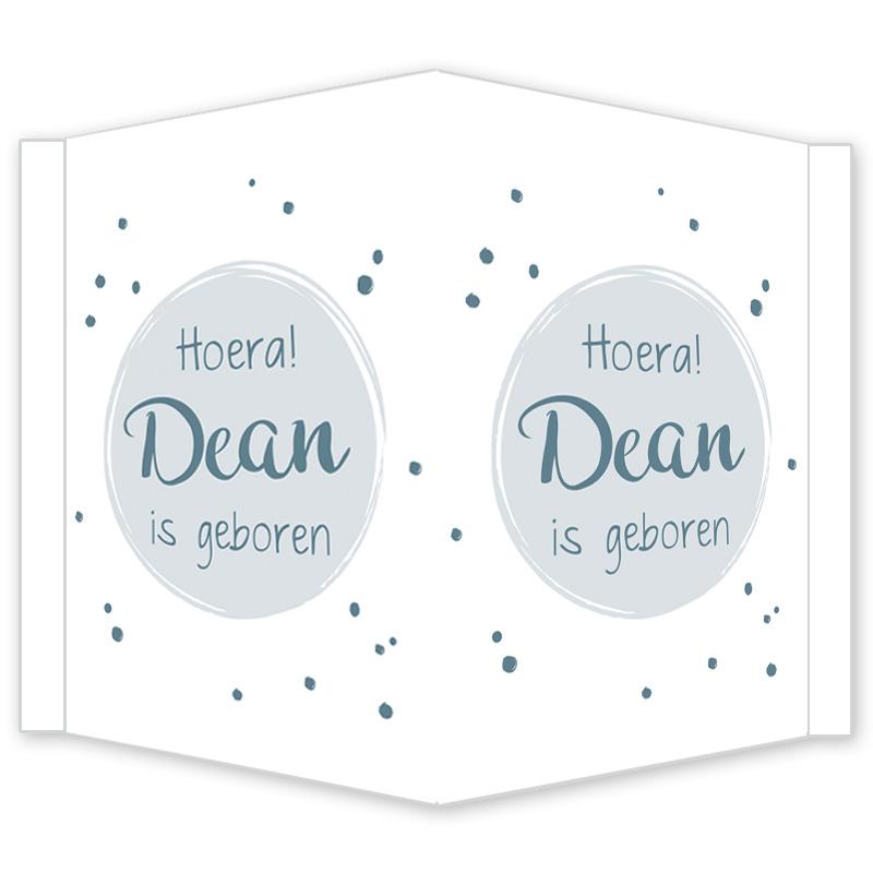 Geboortebord - Geboortebord raam met blauwe stipjes type Dean