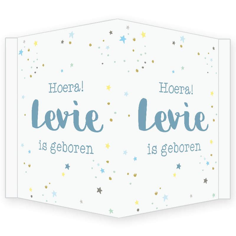 Geboortebord - Geboortebord met gekleurde stipjes en sterretjes type Levie