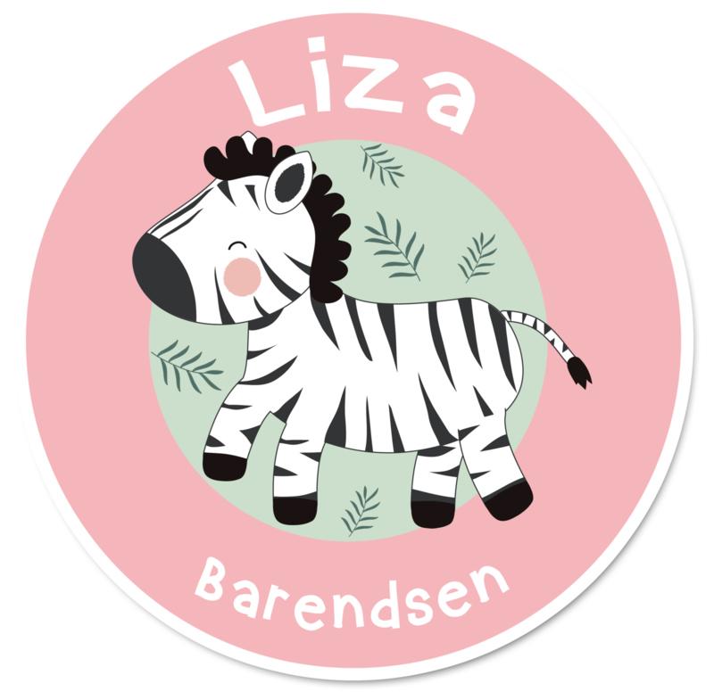 Naamstickers rond met een super leuke zebra