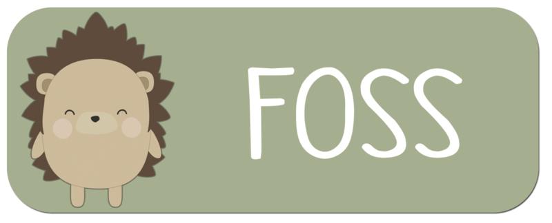 Naamstickers met een super leuke egel type Foss