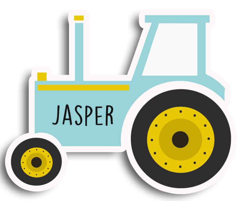 Naamstickers in vorm met een stoere tractor