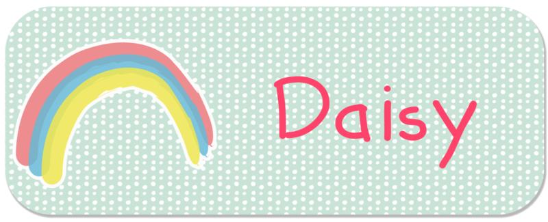 Naamstickers kind mint met schattige regenboog