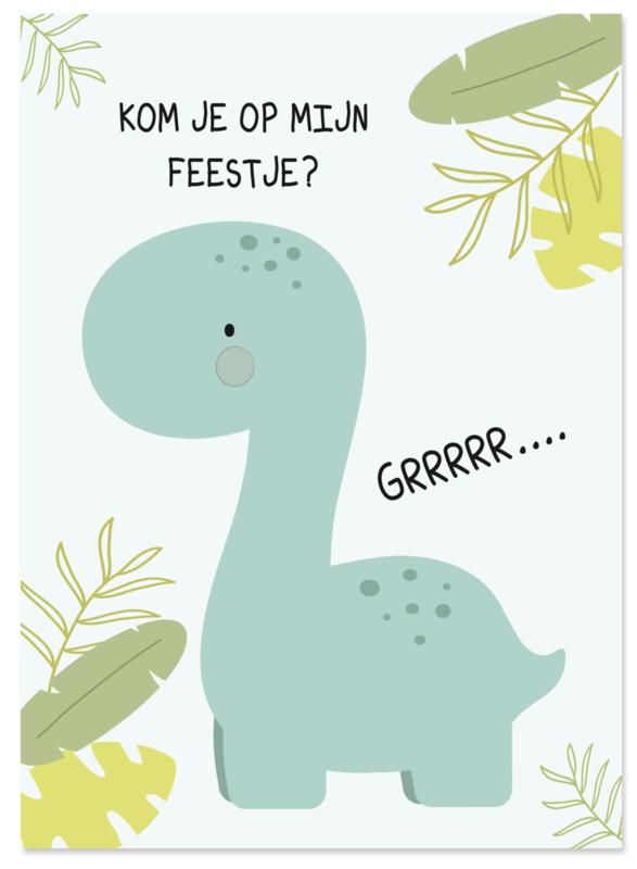 Uitnodiging kinderfeestje Dinosaurus