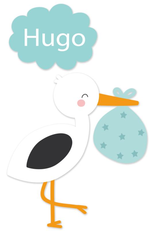 Geboortesticker full colour jongen ooievaar type Hugo