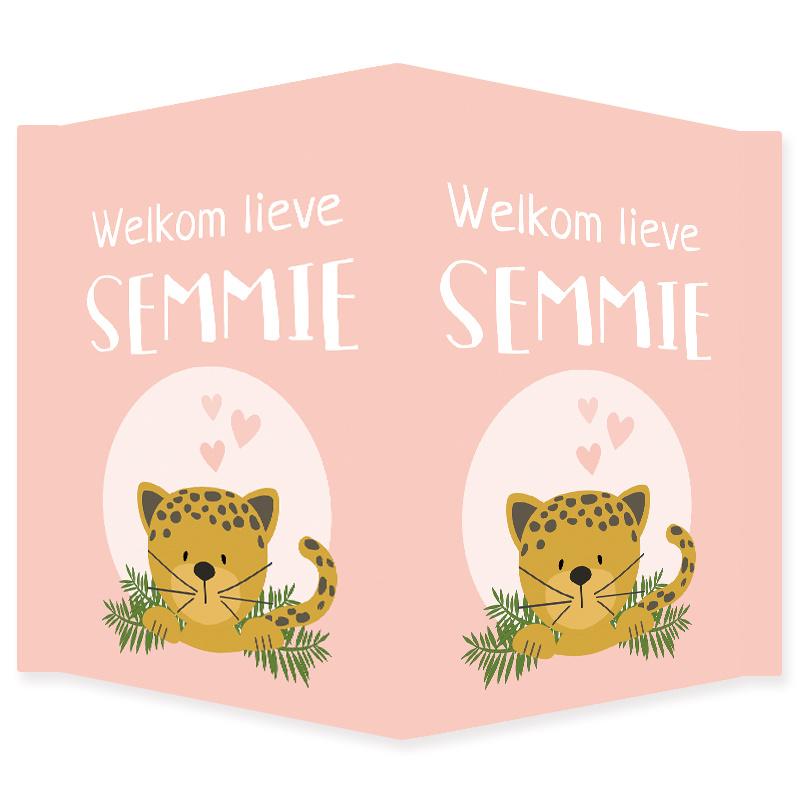 Geboortebord meisje met lieve jaguar type Semmie