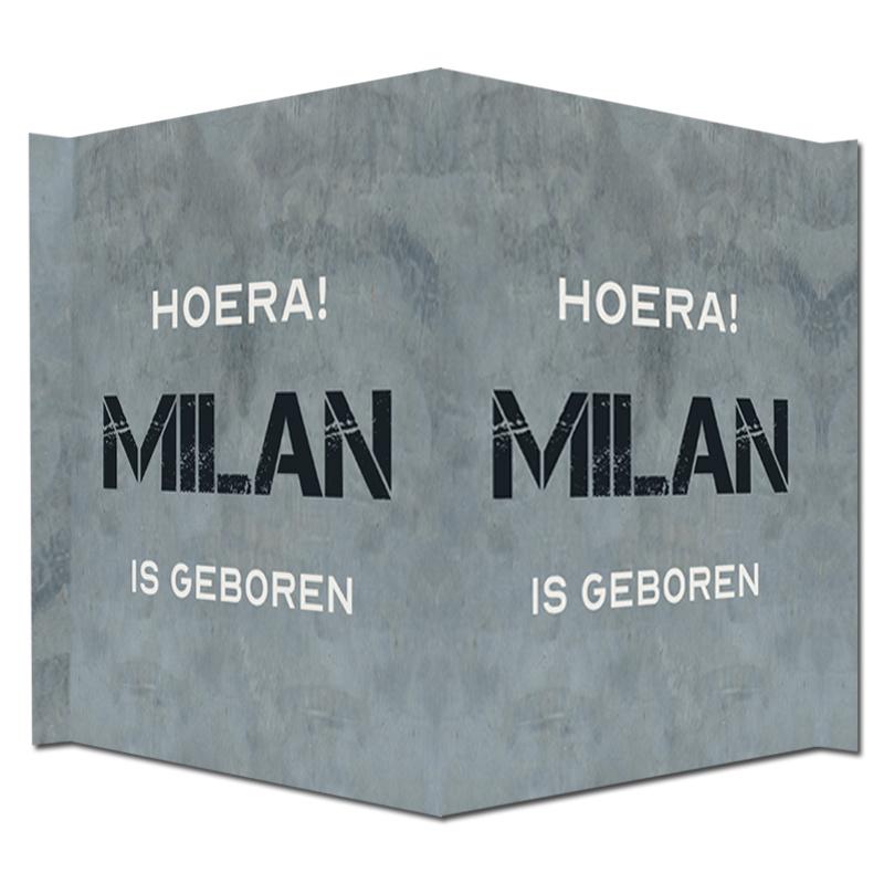 Geboortebord - Geboortebord met mooie stoere grijze betonlook type Milan