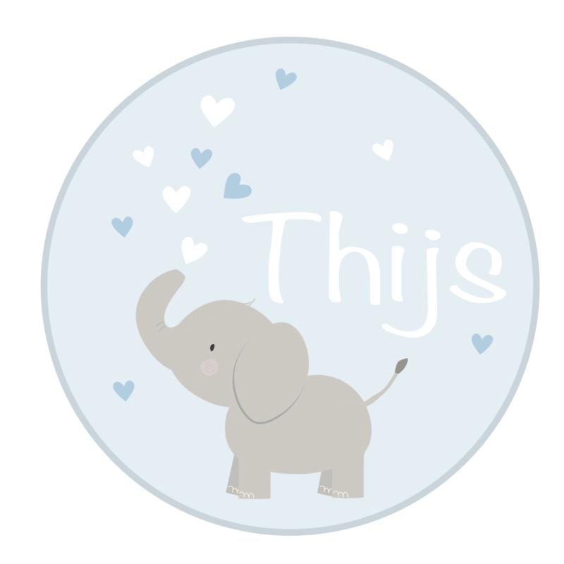 Geboortesticker full colour met leuke olifant type Thijs