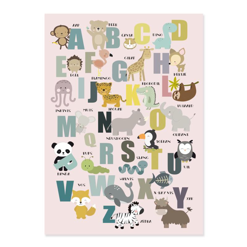 Alfabet poster kinderkamer met dieren - oud roze