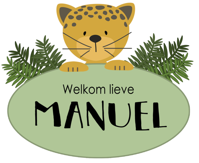 Geboortesticker full colour met een jaguar type Manuel