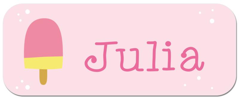 Naamstickers met schattig ijsje type Julia