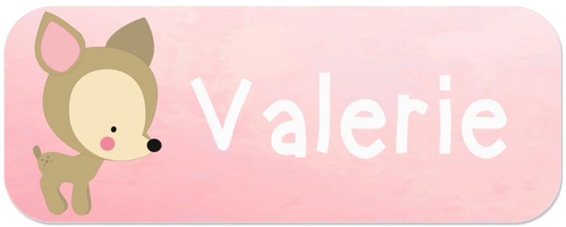 Naamstickers met lief hertje type Valerie