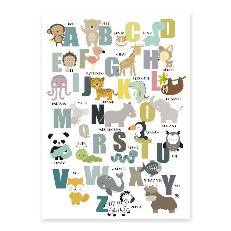 Alfabet poster kinderkamer met dieren - wit