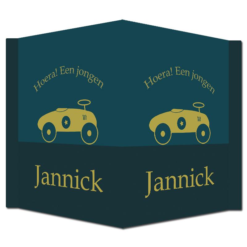 Geboortebord - Geboortebord donkerblauw met goudkleurige loopauto type Jannick