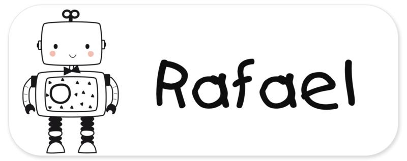 Naamstickers kind met een leuke robot type Rafael