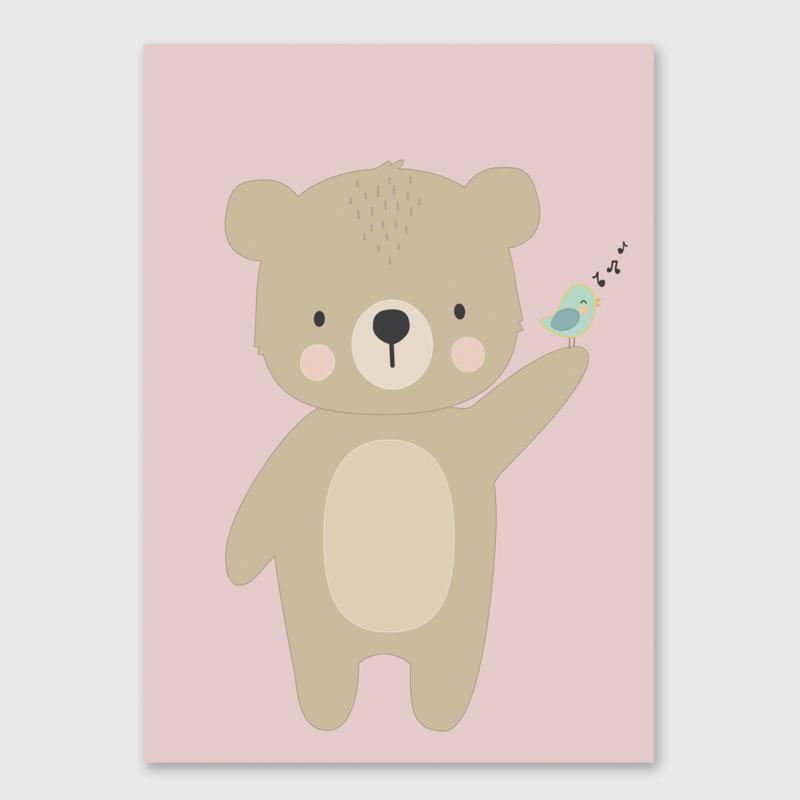 Poster met beer meisje - poster babykamer of kinderkamer
