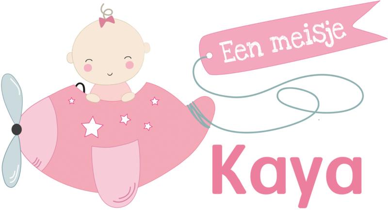Geboortesticker full colour met vliegtuig type Kaya