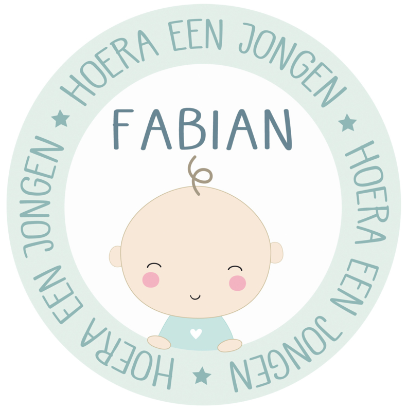 Geboortesticker full colour met baby type Fabian