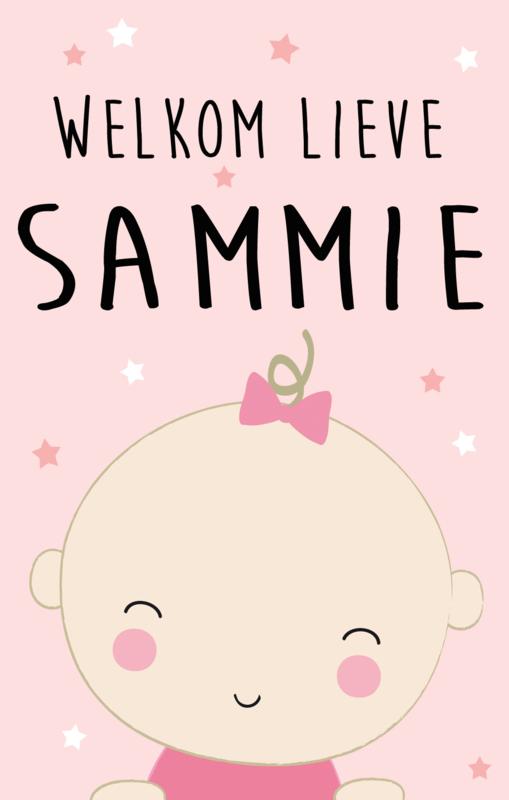 Geboortesticker full colour met baby type Sammie
