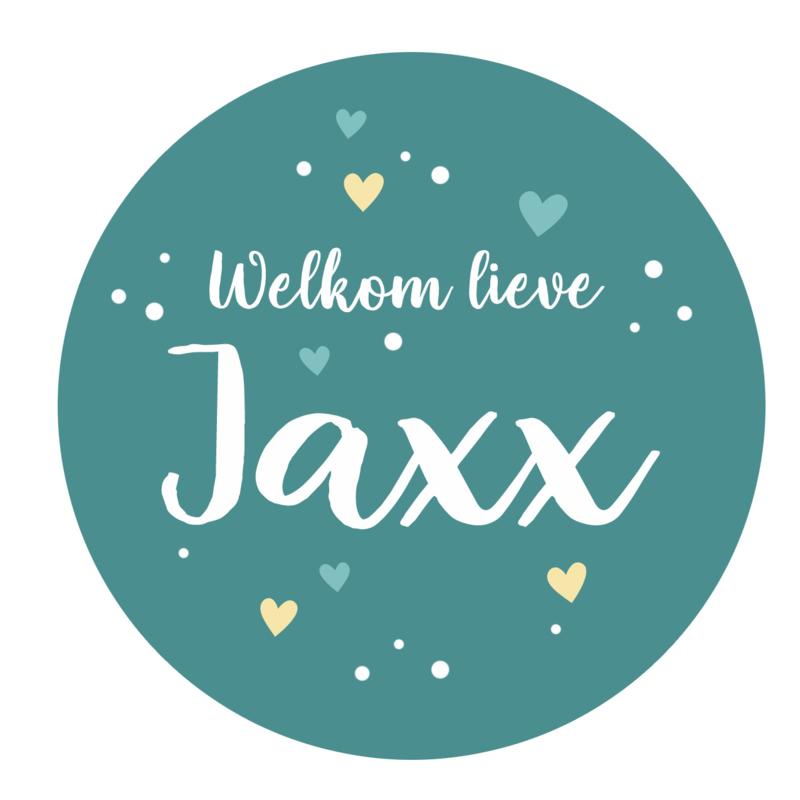 Geboortesticker full colour met leuke stipjes en hartjes type Jaxx