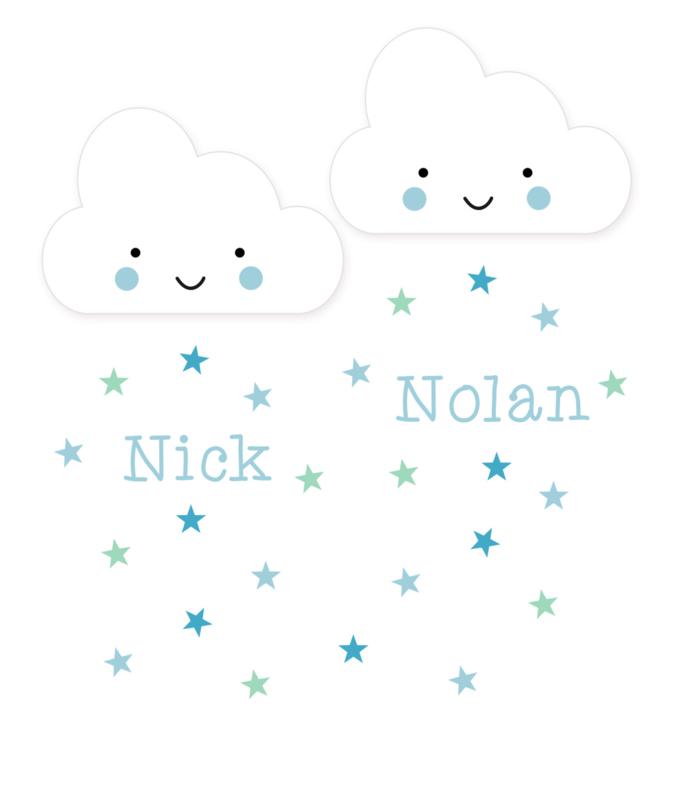 Geboortesticker tweeling type Nick en Nolan