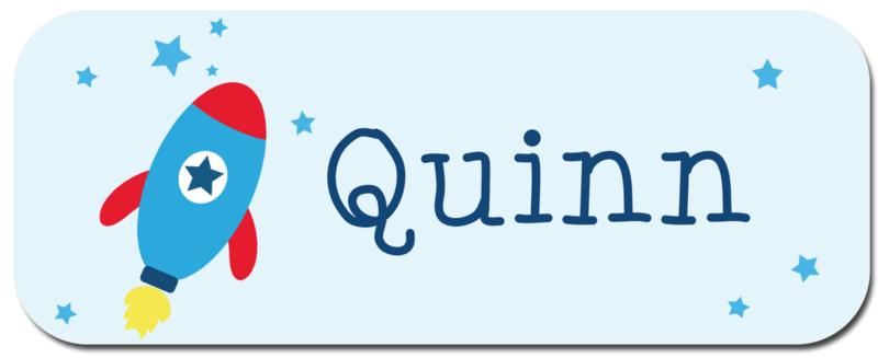 Naamstickers kind met raket type Quinn