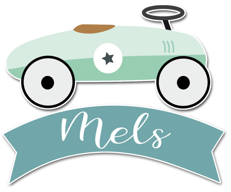 Geboortesticker full colour met loopauto type Mels