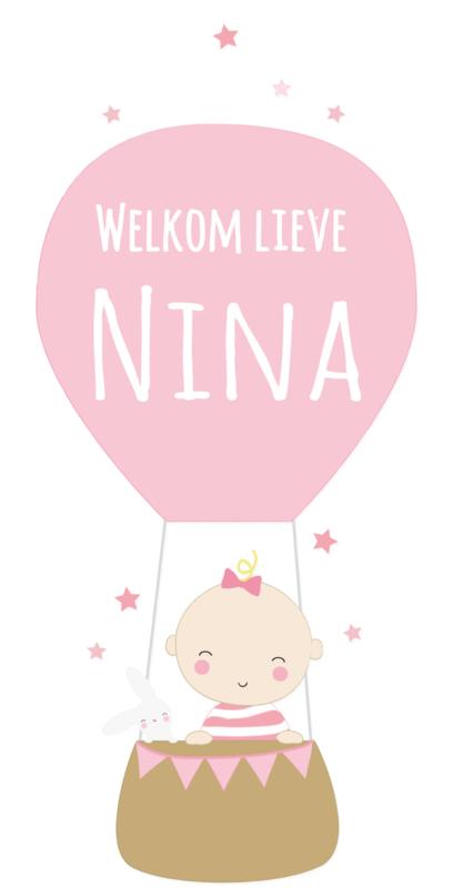 Geboortesticker baby met luchtballon full colour type Nina
