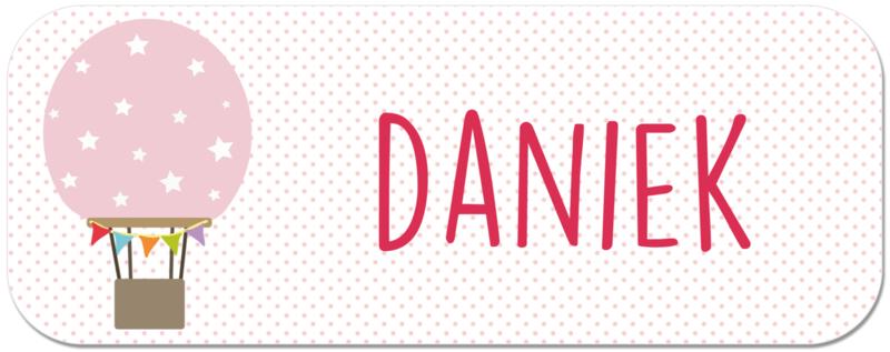 Naamstickers met roze luchtballon type Daniek
