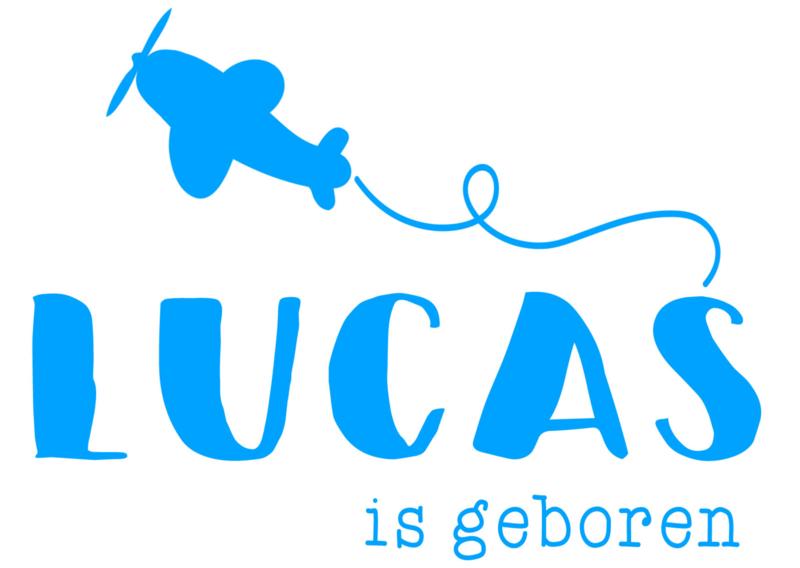 Geboortesticker met vliegtuigje type Lucas