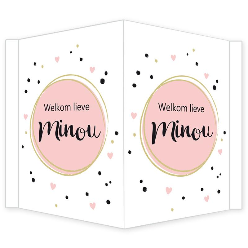 Geboortebord - Geboortebord met zwarte stipjes en roze hartjes type Minou