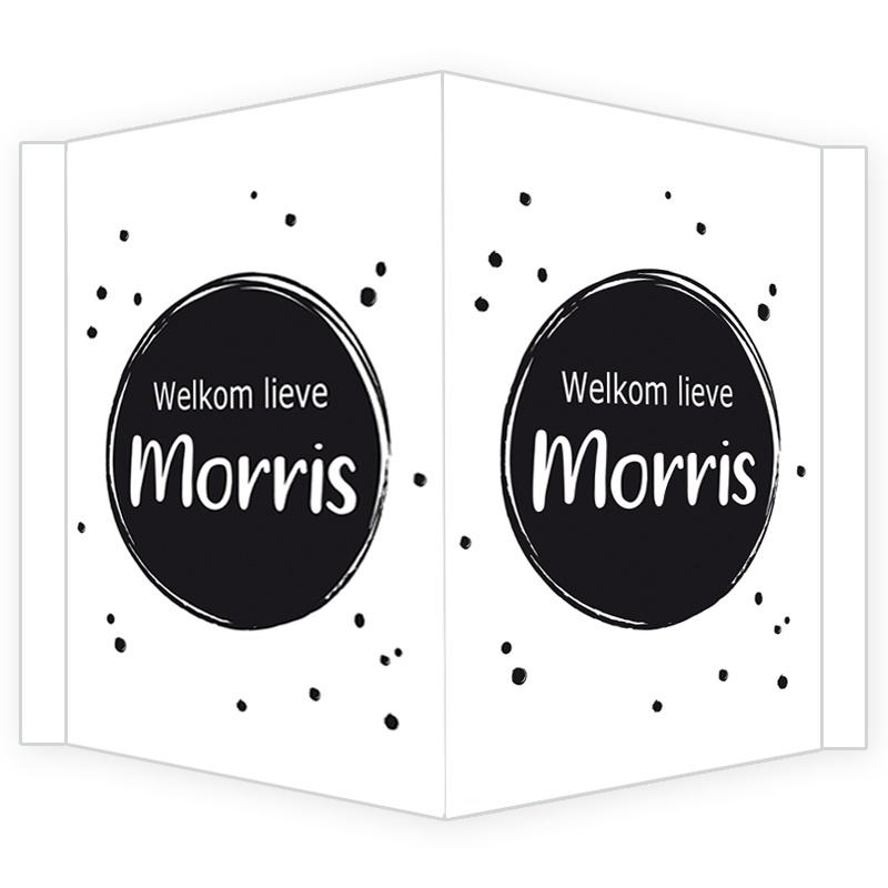 Geboortebord - Geboortebord raam met cirkels met zwarte stipjes type Morris