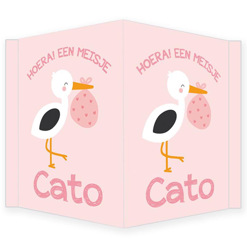 Geboortebord - Geboortebord raam roze met een ooievaar type Cato
