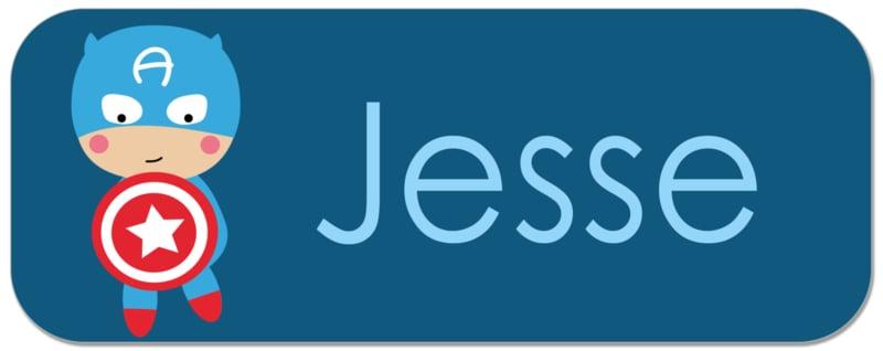 Naamstickers kind met superheld type Jesse