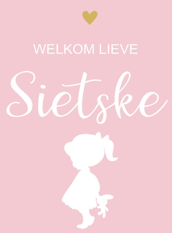 Geboortesticker full colour met meisje en hartje  type Sietske