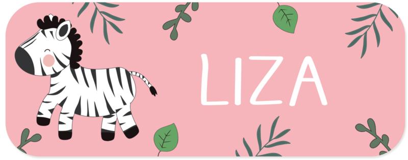 Naamstickers met super leuke zebra type Liza