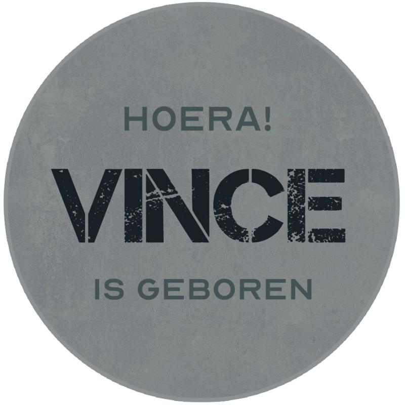 Geboortesticker full colour met stoere grijze betonlook type Vince