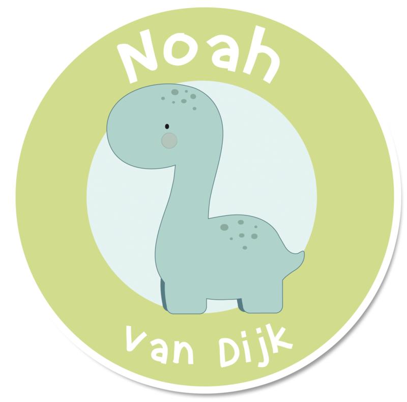 Naamstickers rond met een dinosaurus