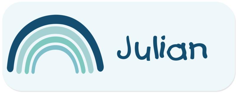 Naamstickers kind met een blauw retro regenboogje type Julian