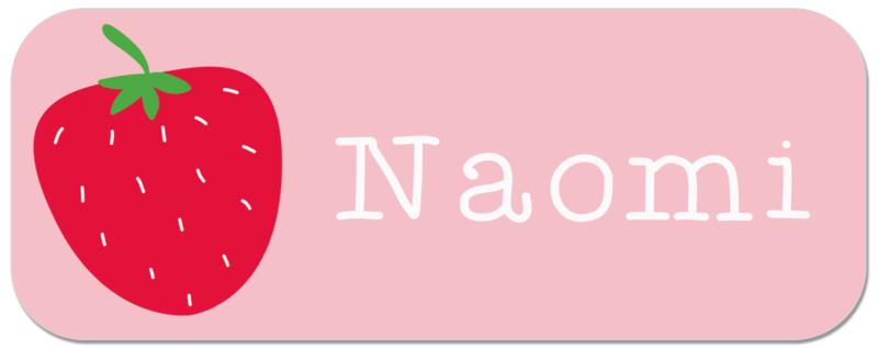 Naamstickers kind met aardbei  type Naomi