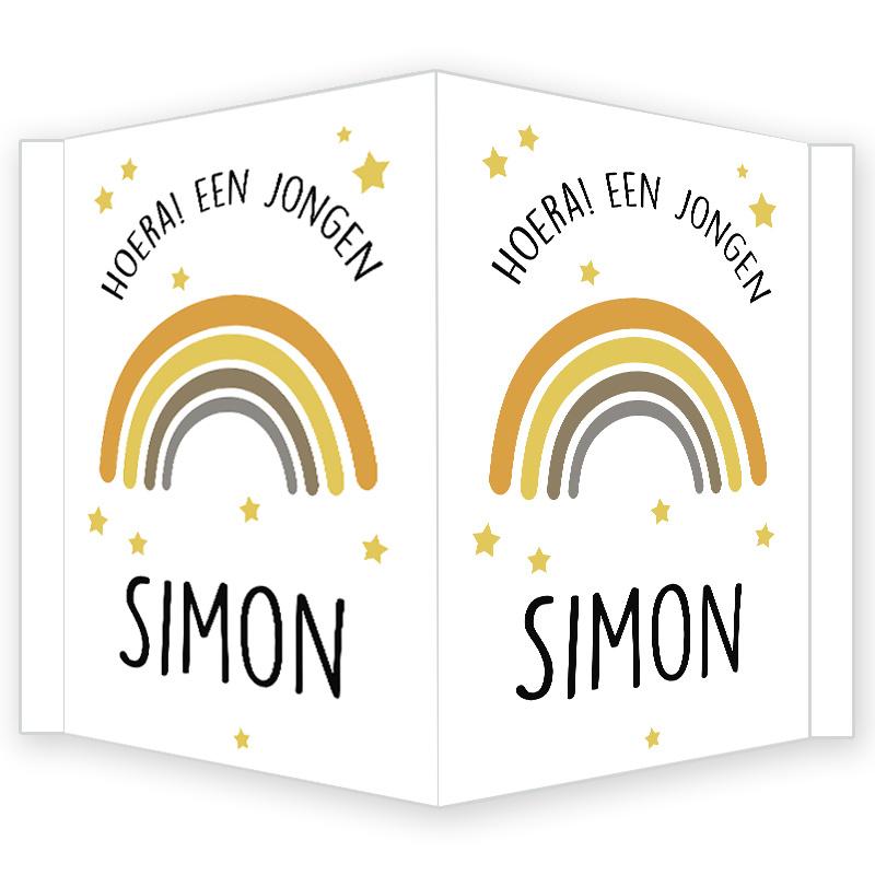Geboortebord - Geboortebord raam met regenboog type Simon